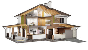 3D rendering of a  modern house. A conceptual image of a modern cottage with furniture, three-dimensional models Stock Image