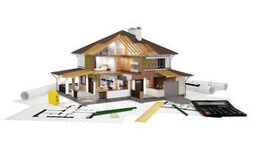 3D rendering of a  modern house. A conceptual image of a modern cottage with furniture, three-dimensional models and drawings Royalty Free Stock Photography