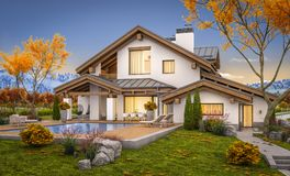 3d rendering of modern house in evening autumn royalty free stock photo
