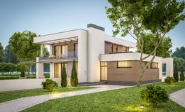 3d rendering of modern house at evening Royalty Free Stock Images