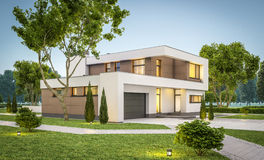 3d rendering of modern house at evening Stock Image