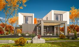3d rendering of modern house in the garden сlear sunny autumn day. 3d rendering of modern cozy house in the garden with garage for sale or rent with beautiful royalty free stock photography