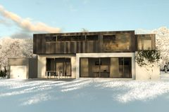 3d rendering of modern house with garden covered with snow in th. E winter season Royalty Free Stock Photos