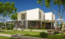 3d rendering of modern house in the garden. 3d rendering of modern cozy house in the garden with garage for sale or rent with beautiful pool in the yard. Clear stock illustration