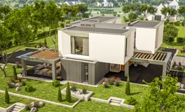 3d rendering of modern house in the garden. 3d rendering of modern cozy house in the garden with garage for sale or rent with beautiful pool in the yard. Clear royalty free illustration