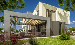 3d rendering of modern house in the garden. 3d rendering of modern cozy house in the garden with garage for sale or rent with beautiful pool in the yard. Clear vector illustration