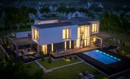 3d rendering of modern house in the garden at night. 3d rendering of modern cozy house in the garden with garage for sale or rent with beautiful pool in the yard royalty free illustration