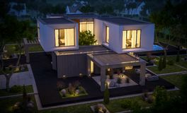 3d rendering of modern house in the garden at night. 3d rendering of modern cozy house in the garden with garage for sale or rent with beautiful pool in the yard vector illustration