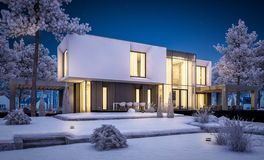3d rendering of modern house with garden in winter night. 3d rendering of modern cozy house with garage and garden. Cool winter night with cozy warm light from stock image