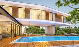 3d rendering of modern house on the hill with pool in evening stock illustration