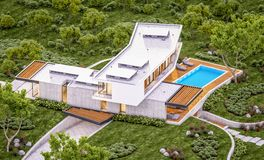 3d rendering of modern house on the hill with pool in evening vector illustration