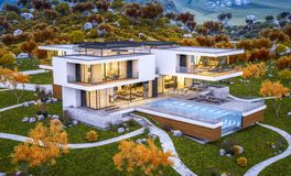 3d rendering of modern house by the river cool autumn evening wi royalty free stock photo