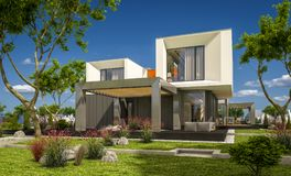 3d rendering of modern house by the river Stock Photos