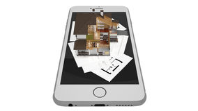 3D rendering of a modern house with smartphone and blueprint. A conceptual image of a modern cottage with smartphone and blueprint, three-dimensional models Stock Photo
