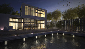 3D rendering modern house with terrace at night. 3D Interior rendering by 3ds max Stock Images