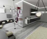 3D rendering. Modern interior design. Gray colors. Glossy floor. Modern light interior. Living room. Gray colors. Glass surfaces Royalty Free Stock Images