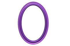 3d rendering of  modern isolated hanging purple  color photo fra. 3d rendering of cool modern isolated  hanging purple color oval shape photo frame on a white Royalty Free Stock Photography