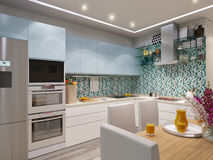3d rendering of modern kitchen Stock Photo