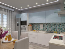 3d rendering of modern kitchen Royalty Free Stock Photos