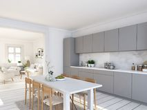 Modern nordic kitchen in loft apartment. 3D rendering Stock Photos
