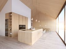 Modern nordic kitchen in loft apartment. 3D rendering stock images