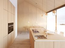 Modern nordic kitchen in loft apartment. 3D rendering royalty free stock photos