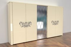 3D rendering. Modern light wardrobe. Modern wardrobe. Mirror door. 3d rendering vector illustration