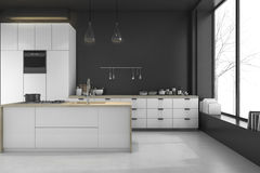 3d rendering modern loft black kitchen and dining room in winter Royalty Free Stock Photos