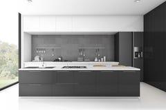 3d rendering modern loft black kitchen with tile Royalty Free Stock Images