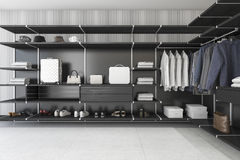 3d rendering modern loft black walk in closet with shirt and dress. 3d rendering interior design by 3ds max Stock Image