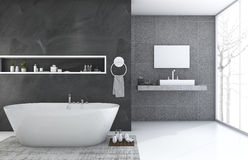 3d rendering modern and loft style bathroom with nice winter view Royalty Free Stock Images