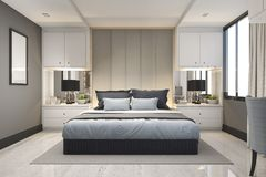 3d rendering modern luxury blue bedroom with marble decor. 3d rendering interior and exterior design vector illustration