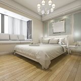 3d rendering modern luxury classic bedroom with vintage built in Stock Photography