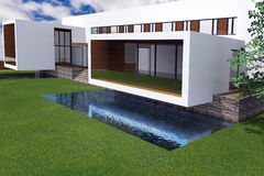 3D rendering of modern mansion royalty free stock photography
