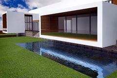 3D rendering of modern mansion royalty free stock image