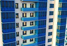 3d rendering of modern multi-storey residential building. Rendering of modern multi-storey residential building Stock Image