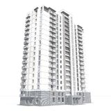 3d rendering of modern multi-storey residential building. Isolated on white Stock Image