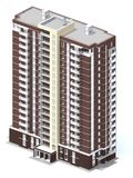 3d rendering of modern multi-storey residential building. On white Stock Photos