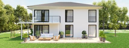 Modern new house with large property. 3D rendering. 3D rendering. modern new house with large property Royalty Free Stock Photography