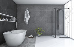 3d rendering modern style bathroom with nice winter view Royalty Free Stock Photo