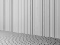 3D Rendering modern white slats wall and floor, interior illustr Royalty Free Stock Image