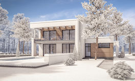3d rendering of modern winter house Royalty Free Stock Image
