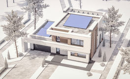 3d rendering of modern winter house Royalty Free Stock Photo