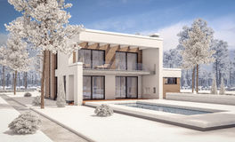 3d rendering of modern winter house Royalty Free Stock Photos