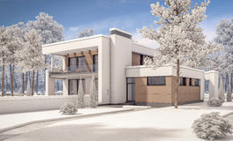 3d rendering of modern winter house Royalty Free Stock Images
