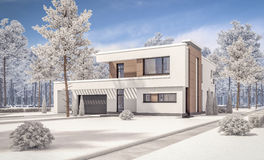 3d rendering of modern winter house Stock Photography