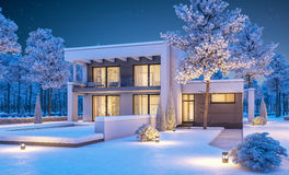 3d rendering of modern winter house at night Royalty Free Stock Photos