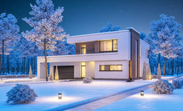 3d rendering of modern winter house at night Royalty Free Stock Images