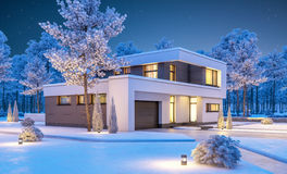 3d rendering of modern winter house at night Royalty Free Stock Photo