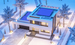 3d rendering of modern winter house at night Stock Images